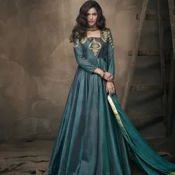 Party Wear Ladies Teal Gown