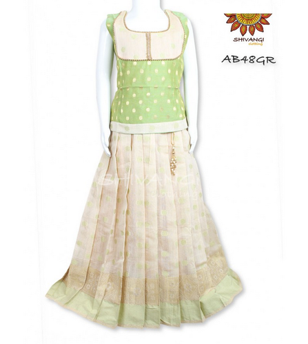 375167f5b9 Cream Color Shivangi Chanderi Fully Stitched Pattu Pavadai Ab48gr ...