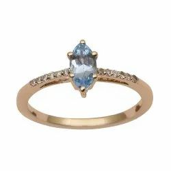 Solitaire Marquise Cut Blue Topaz 9k Yellow Gold Diamond Accents Ring
