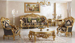 Wooden Carved Sofa Set in Golden Polish