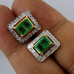 Emerald Diamond Ear Studs
