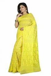 Woven, Embroidered Jamdani Handloom Cotton Blend, Cotton Linen Blend, Cotton Blend Saree (Gold)