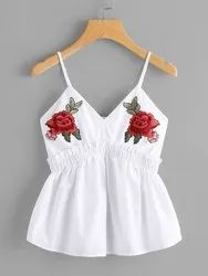 Cotton V-Neck White Crop Top With Patch Work And Strap