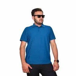 Half Sleeve Sky Blue Mens Polo Neck Cotton T Shirts, Size: M-XXL