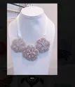 Satin Ribbon White Hand Embroidered Beaded Designer Necklace N05