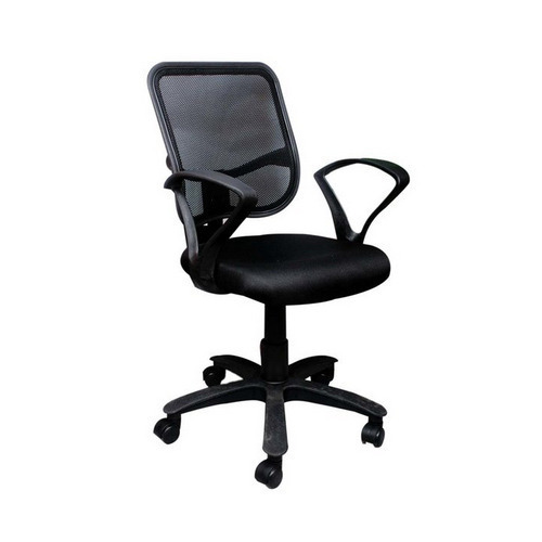 cfffb94b806 Black Fabric Seat Net Back Office Chair