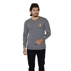Men's Cotton Striped Round Neck T Shirt