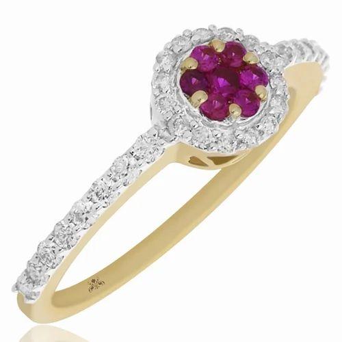 0.33 CTS Diamond Ring-Pressure Set Diamond Ring-18 K Yellow Gold-Engagement Ring