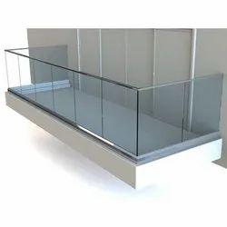 Balcony Anodised 12 Mm Aluminum Panel Glass Railing, Material Grade: Pure Aluminium Heavy Duty
