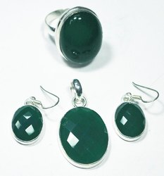 Green Onyx 925 Sterling Silver Rings,Earrings and Pendants