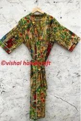 Women's Frida Kahlo Long Cotton Kimono Bath Robe Gown Dress