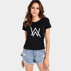 Cotton Half Sleeve Ladies Black Printed Round Neck T Shirt