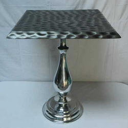 Steel Silver Color Modern Table, Size: 20 inch