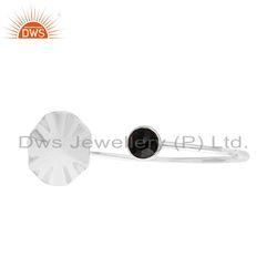 Wavy Disc 925 Fine Silver Black Onyx Supplier Cuff Bangle Bracelets