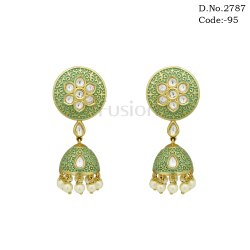 Brass Fusion Meenakari Kundan Jhumki Earrings, Packaging Type: Pouch