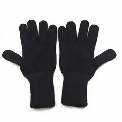 Plain Ladies Woolen Black Gloves