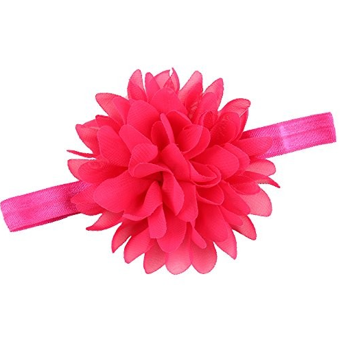 Pink Cloth Chiffon Baby Girl Lotus Chiffon Flower Elastic Hairband