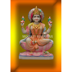 Colored Laxmi Mata White Makrana Marble Statue