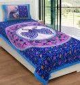 Cotton Peacock Print Single Bed Sheet