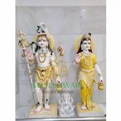 Marble Shankar Parvati White Statue