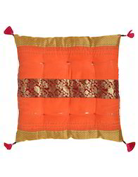 Art Silk Golden Kantha Work Square Chair Pads