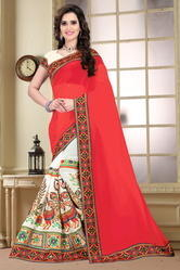 Pink And Beige Color Designer Half And Half Georgette Saree