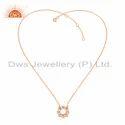 Rose Gold Plated Designer Vishuddha Chakra Silver Chain Pendants