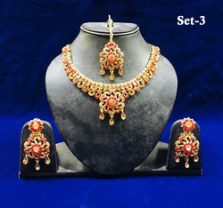 Indian Ethnic Designer Necklace Sets with Earrings Maang Tikka