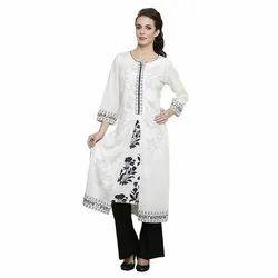 Cotton 3/4th Sleeve Embroidered Ladies Kurti
