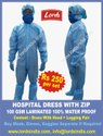 Hospital Dress With Zip 100 GSM Partial Water Proof