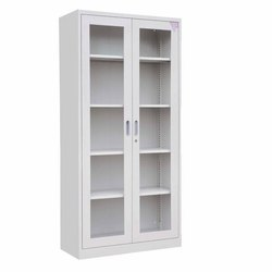 shrusti Gray GLASS DOOR CUPBOARD, Size: 1950*900*450