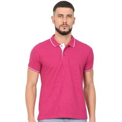 Mens Magenta Colour Collar Neck TShirts