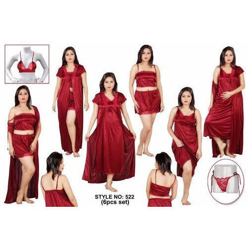 Women Rayon Red Nighty a89cb3836