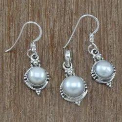 Silver Pearl Gemstone Set Jewelry