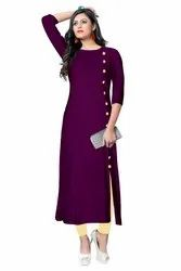 Woman Rayon 3/4th Sleeve  Kurti