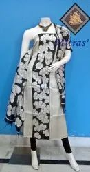 Cotton Formal Wear Black and White Unstitched Salwar Suit