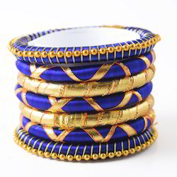 Indian Handcraft Golden Blue Colourful Silk Thread Bangles
