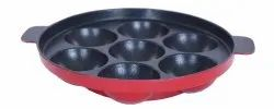 Nirlon Nonstick Mini Patra, Paniyarakal, Kadai Appam, Cavity,Red Black Pan