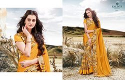 Yellow Color Crepe Silk Printed Saree