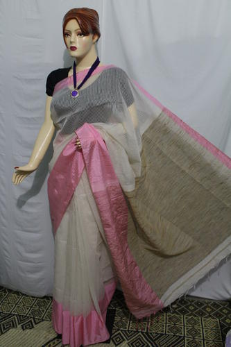fa547f8e1a Ladies Khadi Off White & Pink Plain Handloom Saree, Rs 1200 /piece ...