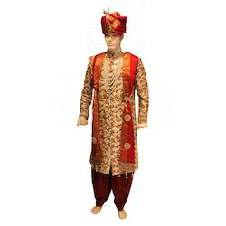 Golden Traditional Mens Embroidered Sherwani