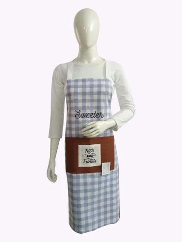 Cotton Blue Kitchen Apron, Size: Free, 2