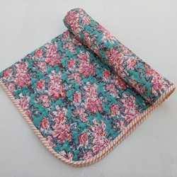 Vintage Kantha Hand Block Printed Stitched Quilt