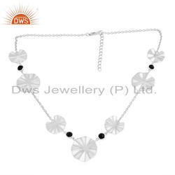 Wholesale 925 Fine Silver Wavy Disc Design Black Onyx Necklaces Jewelry