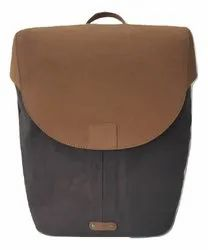 Grey And Tan Waxed Canvas And Genuine Leather Backpack