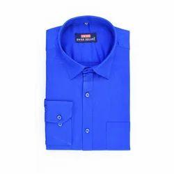 Swiss Square Mens Blue Plain Shirt