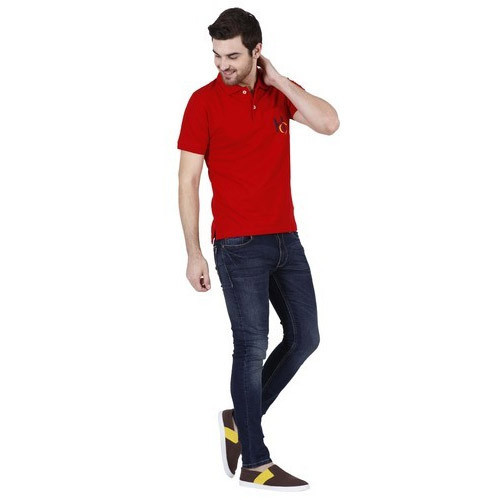 Cotton Plain Mens Red Collar T Shirt, Size: M-XXL