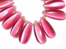 Pink Cat''s Eye Quartz Pear Semi Precious Stone