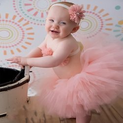 BabyMoon SET of 3 Princess Tutu Outfit -Baby Photography Props - Best Baby shower Gift (Coral Peach)