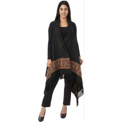 Ladies Free Size Blended Wool Black Cape